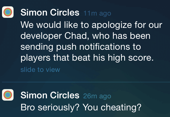simon circles push notifications