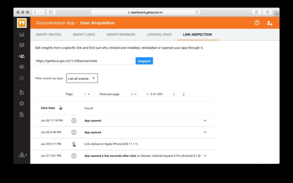 Smart Link inspection - GetSocial Dashboard
