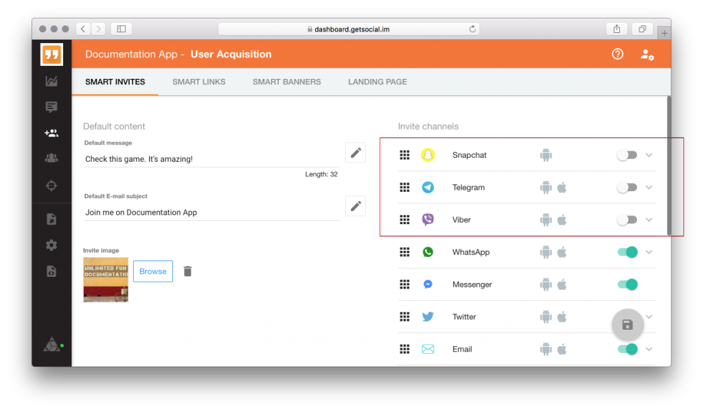 Smart Invite channels customization