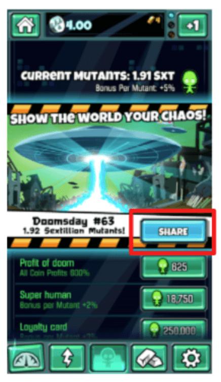 doomsday clicker app referral marketing