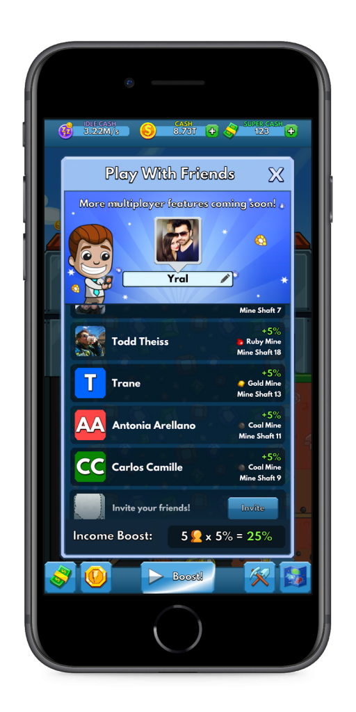 Social Graph - Idle miner tycoon from Fluffy Fairy games