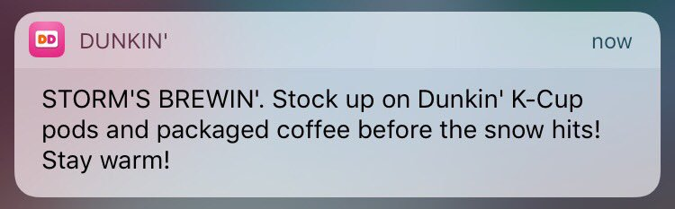 dunkin donuts push notifications