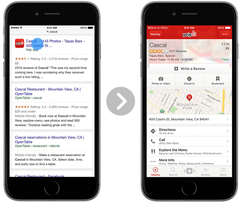 yelp google search deeplinking