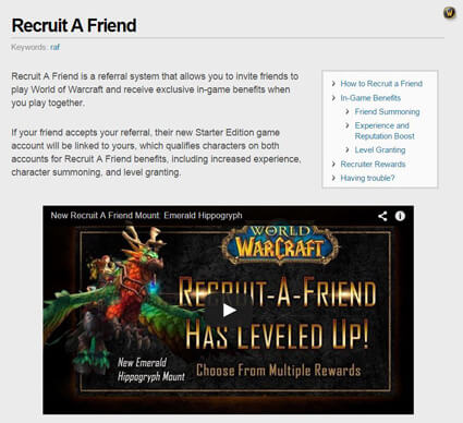 world of warcraft referral